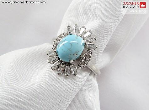 عکس انگشتر فیروزه آبی زنانه