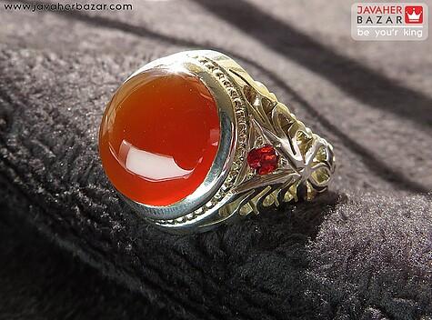 انگشتر عقیق نارنجی مردانه