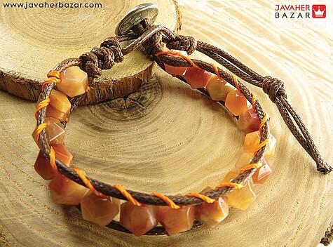عکس دستبند سنگ خورشید نارنجی زنانه