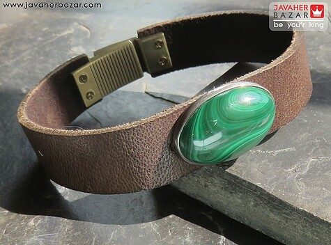عکس دستبند مالاکیت قهوهای مردانه