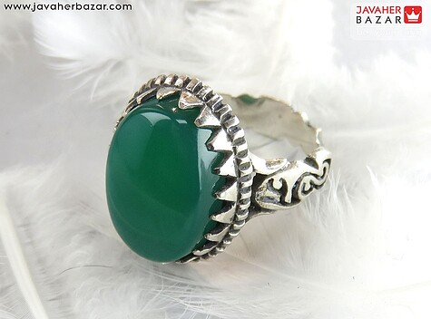 انگشتر عقیق سبز مردانه