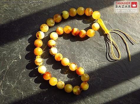 عکس تسبیح کهربا بولونی لهستان نارنجی 33 دانه