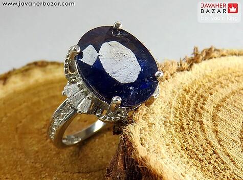 عکس انگشتر یاقوت آفریقایی آبی زنانه