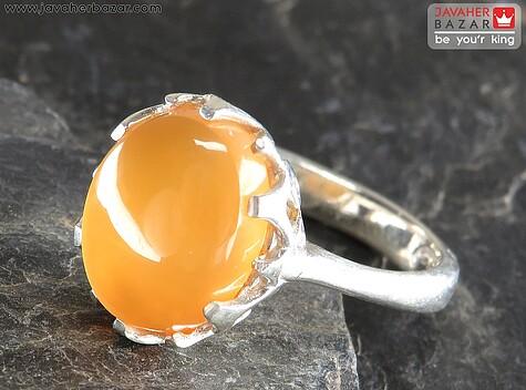عکس انگشتر عقیق یمن نارنجی زنانه