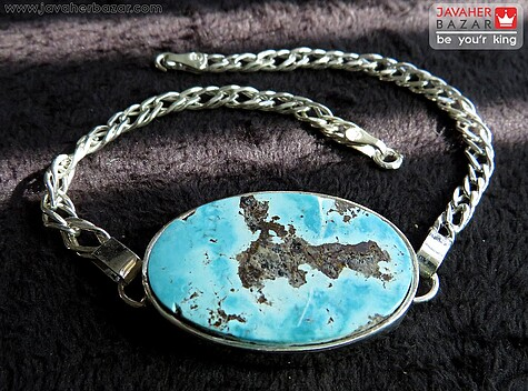 عکس دستبند فیروزه نیشابوری آبی مردانه