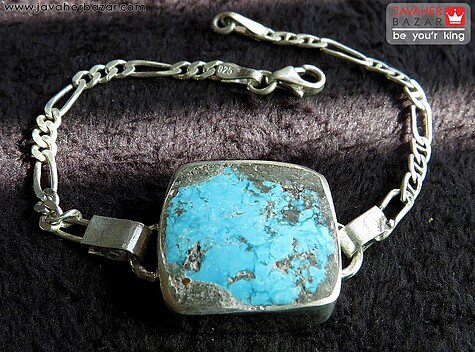 عکس دستبند فیروزه آبی مردانه