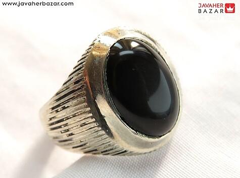 انگشتر عقیق سیاه مردانه
