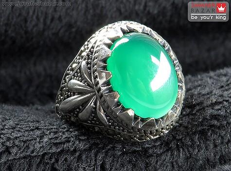 عکس انگشتر عقیق سبز مردانه