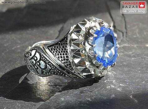 انگشتر توپاز آبی مردانه