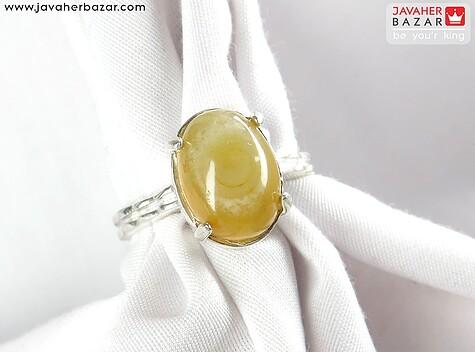 عکس انگشتر عقیق هندی زرد زنانه