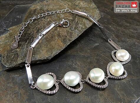 عکس دستبند مروارید سفید