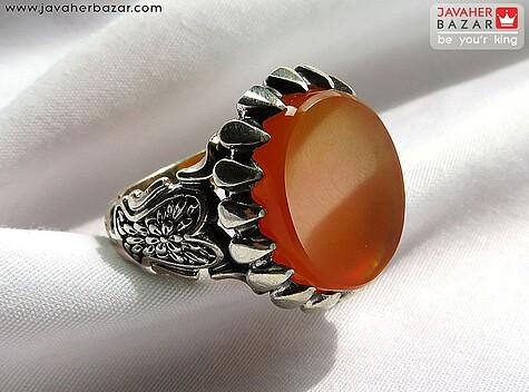 انگشتر عقیق یمن نارنجی مردانه