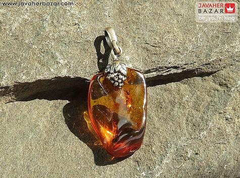 مدال کهربا نارنجی زنانه