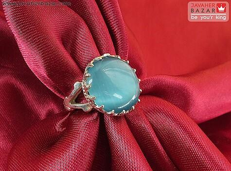 عکس انگشتر چشم گربه آبی زنانه