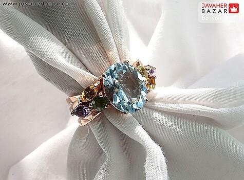 انگشتر توپاز آبی زنانه