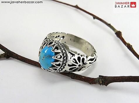 عکس انگشتر فیروزه نیشابوری آبی مردانه