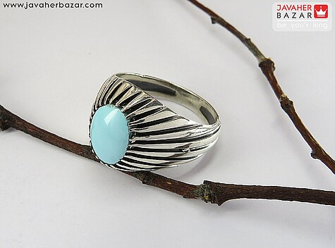 انگشتر فیروزه نیشابوری عجمی آبی مردانه