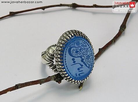 انگشتر عقیق آبی مردانه
