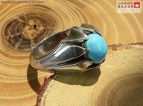 عکس انگشتر فیروزه نیشابوری عجمی آبی مردانه