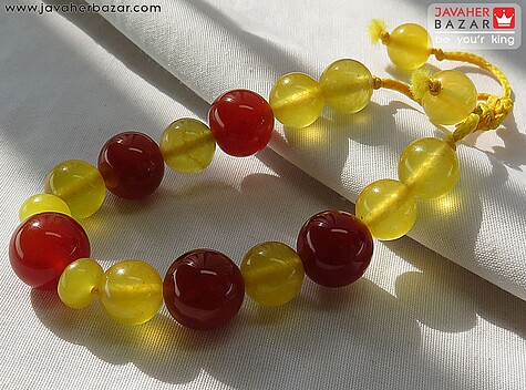 دستبند عقیق زرد زنانه
