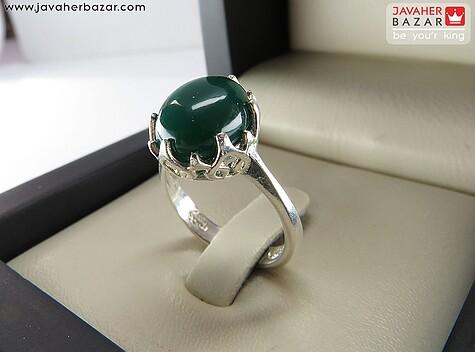 عکس انگشتر عقیق سبز زنانه
