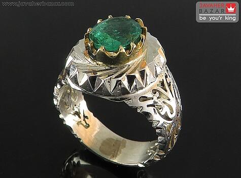 انگشتر زمرد سبز مردانه