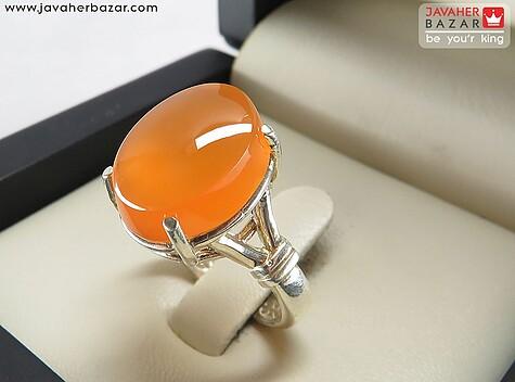 انگشتر عقیق یمن نارنجی زنانه