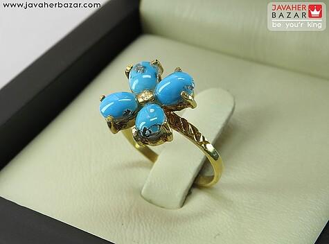 عکس انگشتر فیروزه نیشابوری عجمی آبی زنانه