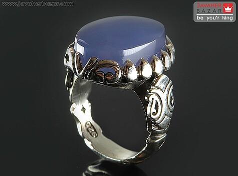 انگشتر عقیق یمن آبی مردانه