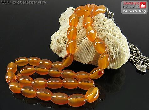 عکس تسبیح عقیق نارنجی 33 دانه