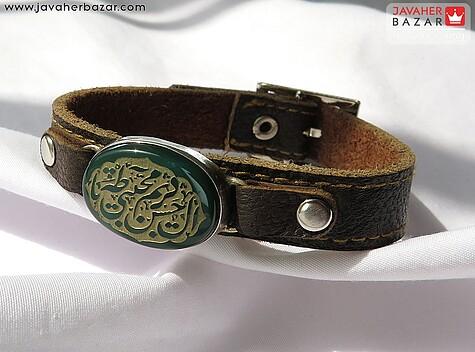 عکس دستبند عقیق قهوهای مردانه
