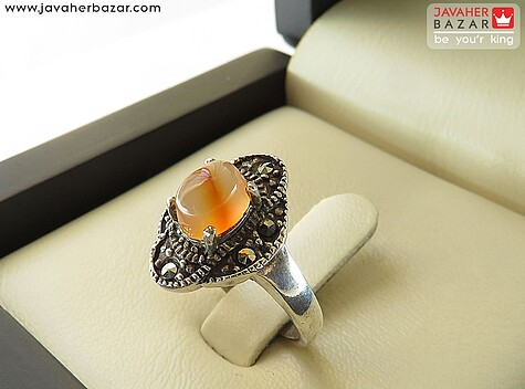 انگشتر عقیق نارنجی زنانه