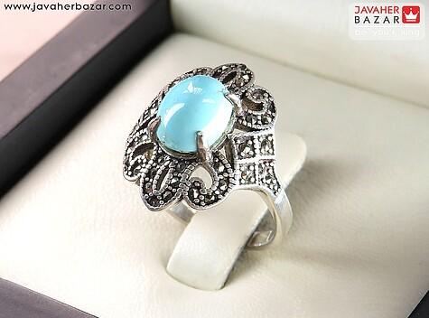 انگشتر فیروزه آبی زنانه